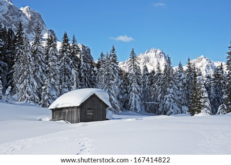 Snowy dolomites, skiing area, swiss alps, europe, winter