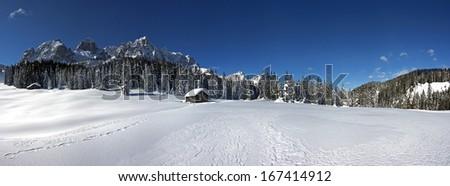 Snowy dolomites, skiing area, swiss alps, europe, winter - stock photo