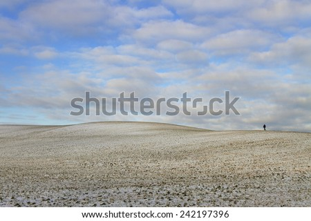 Snowy field in a winter season. - stock photo