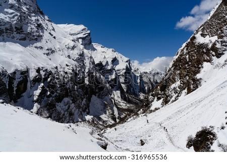 Snowy Himalayan Peak - stock photo
