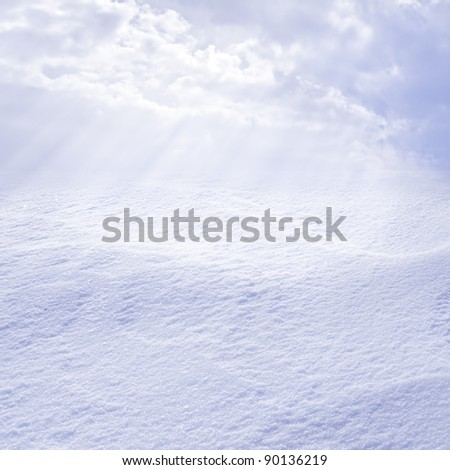 snowy landscape lit by the sun valley - stock photo