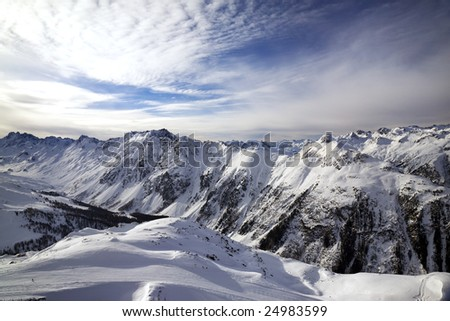snowy mountain range background. Alps