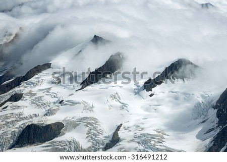 Snowy Mountain Ridges in the Clouds, Kluane National Park, Yukon