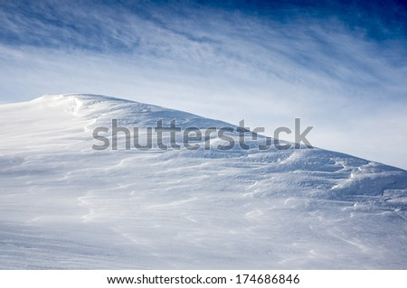 Snowy mountain slope background, val d'Isere, France