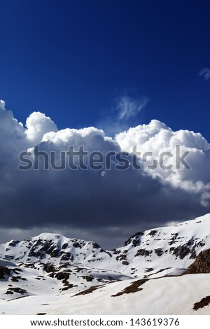 Snowy mountains and blue sky. Turkey, Central Taurus Mountains, Aladaglar (Anti-Taurus) plateau Edigel (Yedi Goller)
