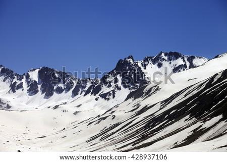 Snowy mountains at nice spring day. Turkey, Kachkar Mountains (highest part of Pontic Mountains). - stock photo