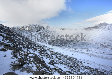 snowy mountains in winter, helvellyn, cumbria - stock photo