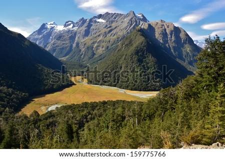Snowy Mountains, Routeburn Track, New Zealand - stock photo