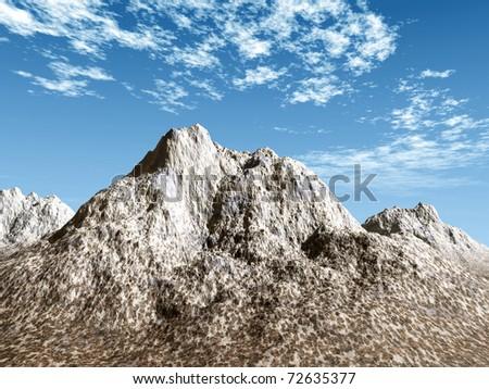 snowy mountains scene - stock photo