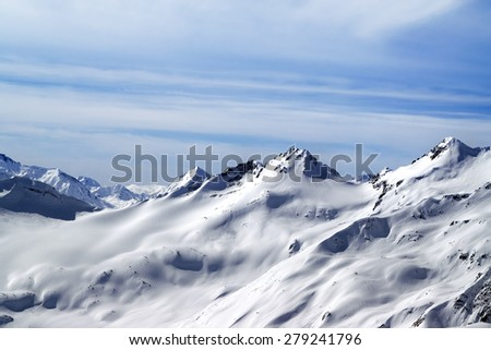 Snowy off-piste slopes. Caucasus Mountains. View from ski slope of Mount Elbrus. - stock photo