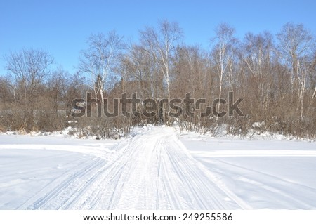 Snowy path - stock photo