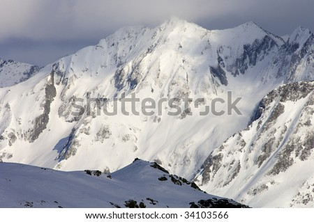 snowy peak in french Pyrenees