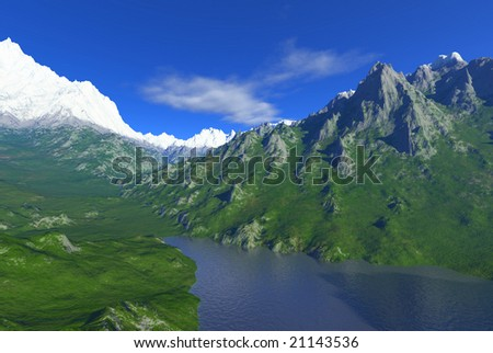 snowy peaks scenery with lake