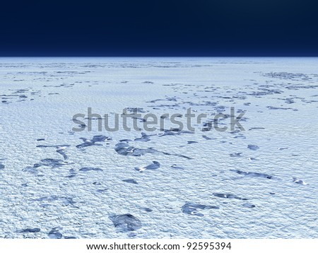 Snowy plain with pieces of ice. Illustration
