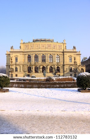 Snowy Prague House of Artists Rudolfinum in the sunny Day, Czech Republic