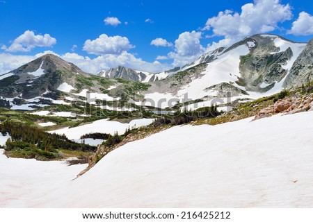 Snowy Range Mountains in Medicine Bow, Wyoming in summer - stock photo