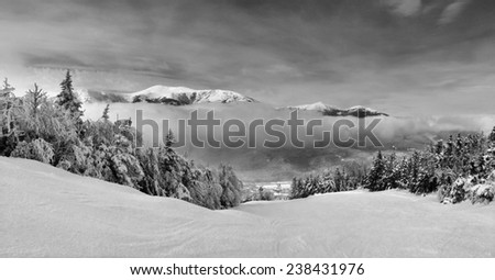 Snowy slope in the mountains , artistic black and white version - stock photo