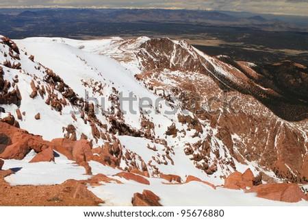 Snowy slopes of Pikes Peak Mountain and vistas in Colorado, USA - stock photo