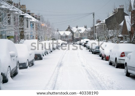 Snowy street - stock photo