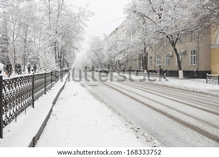 Snowy street in Voronezh city, Russia. - stock photo
