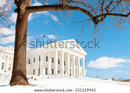 Snowy Virginia State Capital in Richmond - stock photo