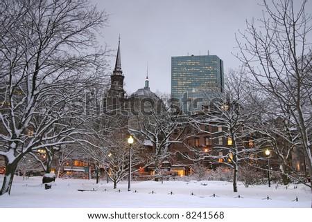 Snowy winter at Boston, Massachusetts, USA - stock photo