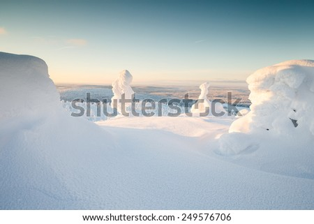 Snowy winter landscape at lapland  - stock photo