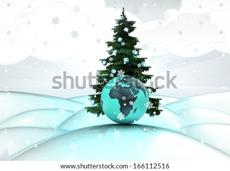 snowy winter landscape with xmas tree and african globe illustration - stock photo