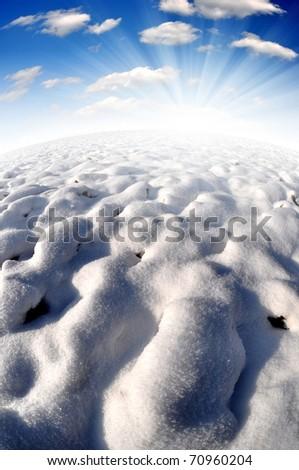 Snowy winter landscapes - Fisheye photography - stock photo