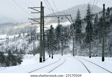 Snowy winter mountain landscape with a railroad