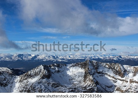 Snowy Winter View from Mt. Democrat, Colorado Rocky Mountains - stock photo