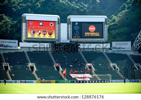 SO KON PO,HONG KONG-FEBRUARY13:Show scoreboards match during  the Lunar New Year Cup 2013 match between HK League and SCG MTUTD at Hong Kong Stadium on Feb13,2013 in,Hong Kong. - stock photo