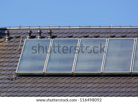 Soalr panels on the roof - stock photo