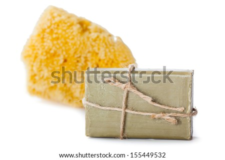Soap and a sponge isolated on white background