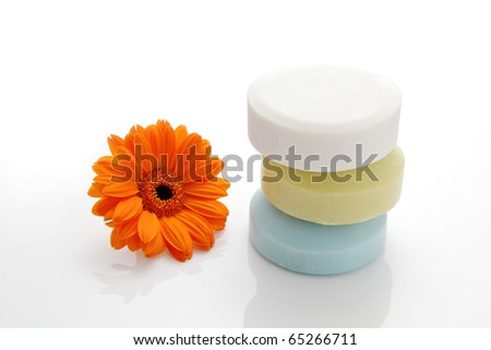 Soap and daisy - stock photo