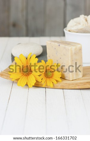 soap bar with herbal flower