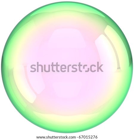 Soap bubble ball foam water drop translucent colorless crystal. Clear aqua liquid shampoo sphere blank button transparent. Detailed 3d render. Isolated on white background - stock photo