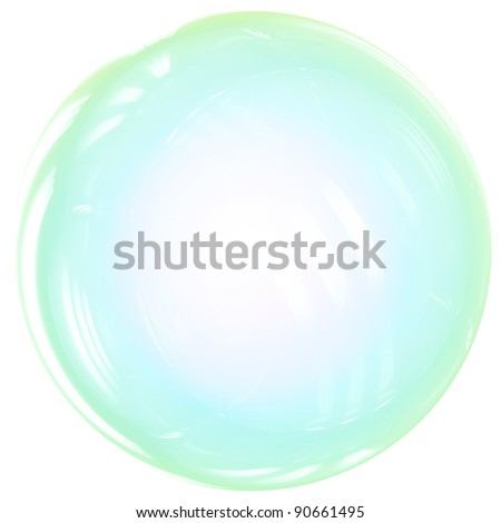 Soap Bubble ball translucent colored as rainbow. Clear sphere concept. This is a detailed 3D render. Isolated on white background. - stock photo