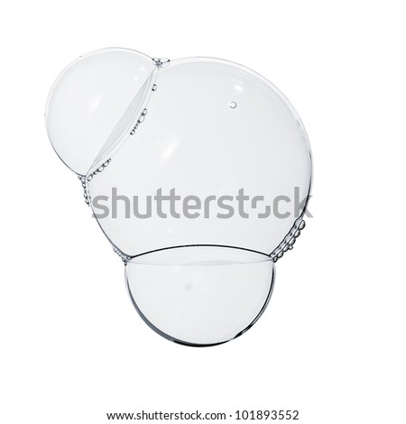 Soap bubbles isolated on white - stock photo