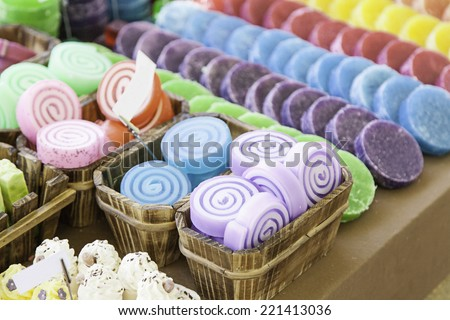 Soap craft colors, detail of a body soaps - stock photo