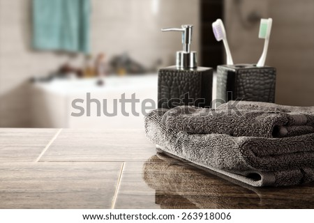 soap decoration with towel and bathroom  - stock photo