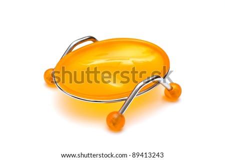 Soap-dish, isolated on white - stock photo