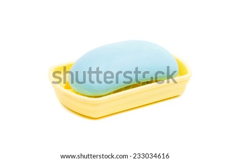 soap in the soap dish on a white background - stock photo