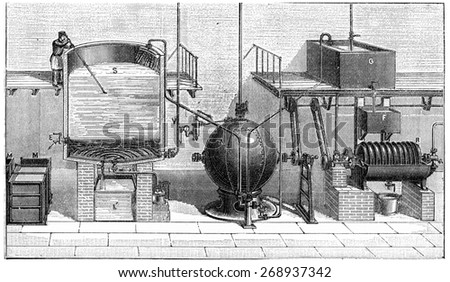 Soap making in isolation, extraction with glycerin, vintage engraved illustration. Industrial encyclopedia E.-O. Lami - 1875.  - stock photo
