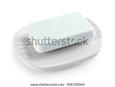 Soap on a dish, isolated on white