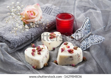 Soap pralines in a heart shape - stock photo