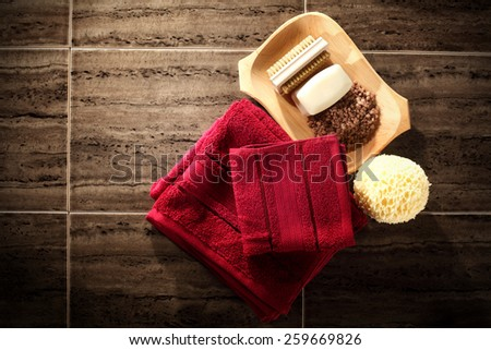 soap towels and red towels  - stock photo