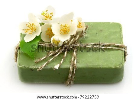 Soap with jasmine isolated on white - stock photo