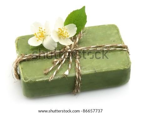 Soap with jasmine isolated on white - stock photo