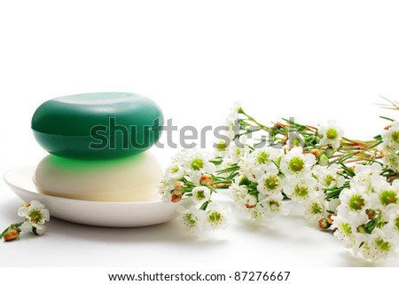 Soaps and waxflower - stock photo